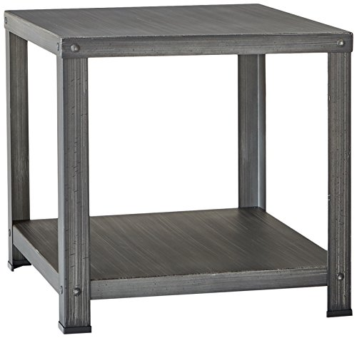 Cheap Ashley Furniture Signature Design – Hattney – Vintage Casual Square End Table – Industrial Style – Gray