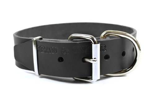 Dean and Tyler B and B , Basic Leather Dog Collar with Strong Nickel Hardware Black Size 20-Inch by 1-1 2-Inch Fits Neck 18-Inch to 22-Inch
