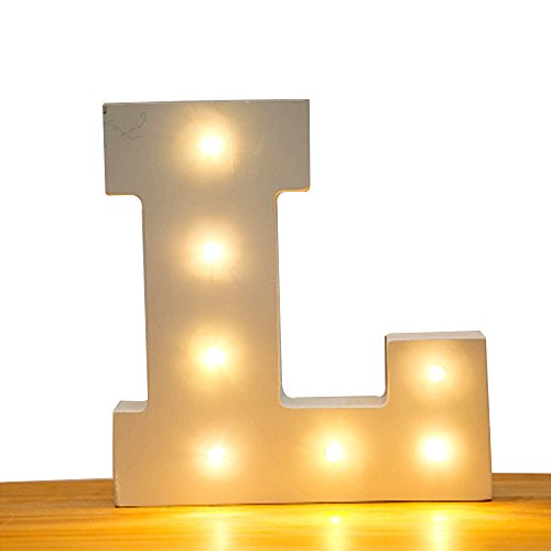 Kerong DIY LED Light up Wooden Alphabet Marquee Letter Lights for Festival Decorative Home Party Wedding Scene Holiday Birthday Christmas Valentine,Battery Operated Warm White (L) by Kerong