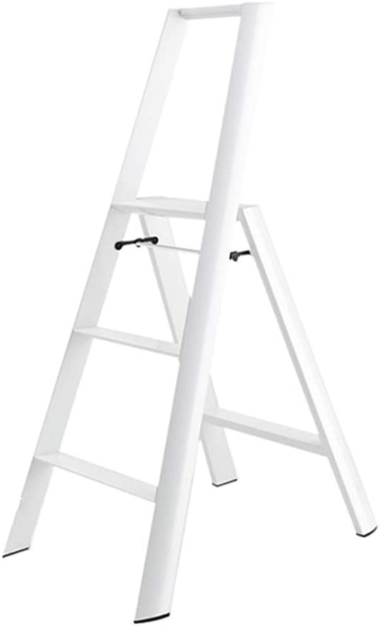 Nevy- Apoyabrazos de la Escalera de un Solo Lado Plegable del hogar del Taburete del Paso de la aleación de Aluminio Solo, Escalera de 3 Pasos (Color : Blanco): Amazon.es: Hogar
