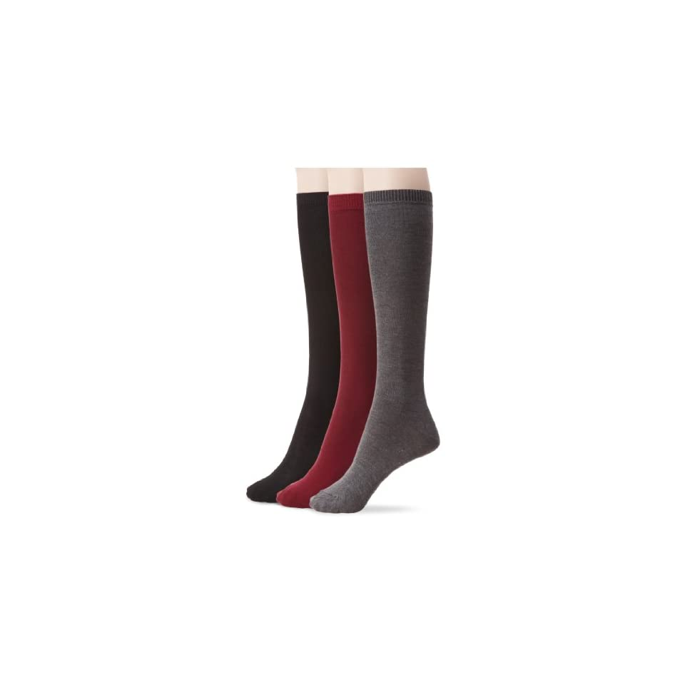 Nine West Womens Solid Flat Knit Knee High 3 Pair Sock, Bordeaux/Heather Charcoal/Black, Size 9 11