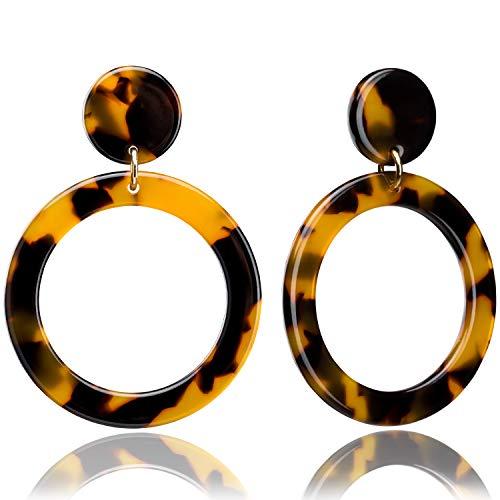 Enameljewelries Hoop Earrings Statement Acrylic Lucite Resin Round Circle Hoop Earrings with 925 Sterling Silver Post Bohemian Tortoise Shell Earrings for Women (B2#Tortoiseshell)
