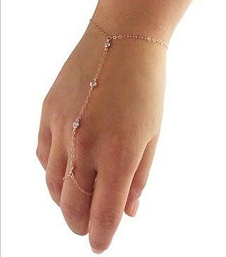 Candy Clover Handmade Multi Chain Crystal Bead Bracelet Slave Finger Ring Hand Harness Bohemian Boho Vintage Fashion (Golden)