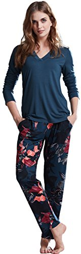 inter Pajama Set Lightweight Prussian Blue and Flower Print (Medium/4-6) ()
