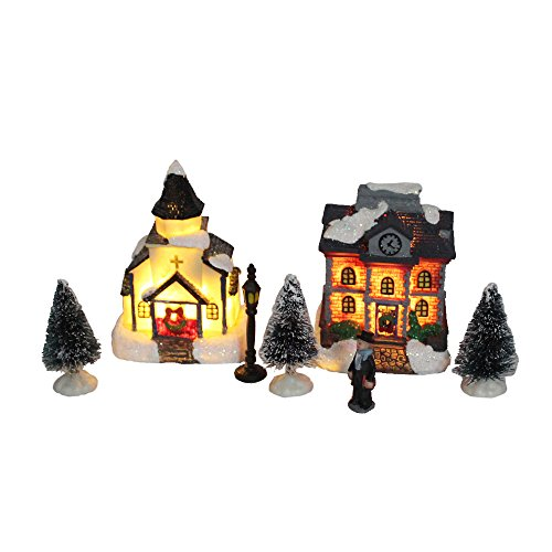 innodept12 Lighting up Christmas Doll Figurine Tiny Resin House Building (Church House Set of 2)