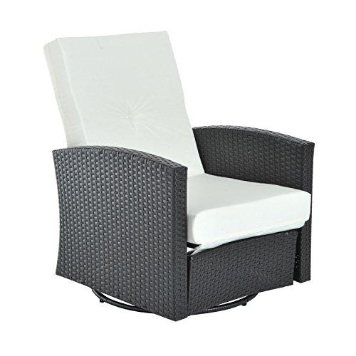 Outsunny Rattan Wicker Swivel Outdoor Recliner Lounge Chair - Espresso