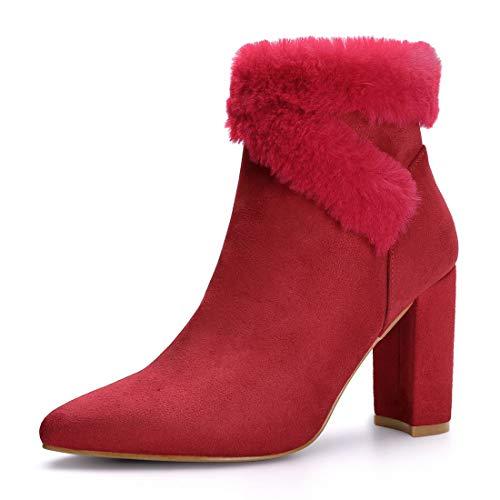 Allegra K Women's Faux Fur Pointed Toe Block Heel Ankle Booties Red