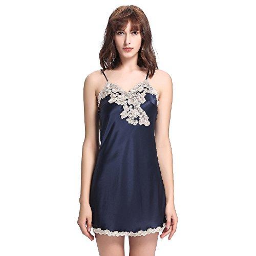 Tagliata Momme In Lilysilk Camicia Blu marino Floreale Pura Di Da Seta 22 Donna Pizzo Notte 1XxZwB