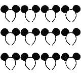 Ears Headband, Kicpot 12 Pack Black Mouse Style Headgear Costume Party Favors