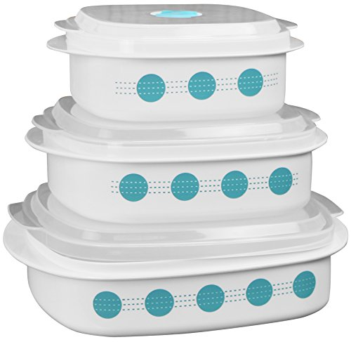 Corelle Coordinates by Reston Lloyd 6-Piece Microwave Cookware, Steamer and Storage Set, South Beach