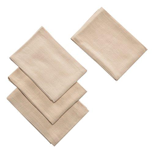 Kitchen Dish Tea Cloth Towels Set (4 Pack) Cotton Linen Hand Towels Super Absorbant Terry Kitchen Tea Towels Dish Cloths (Beige) (Tea Terry Towels)