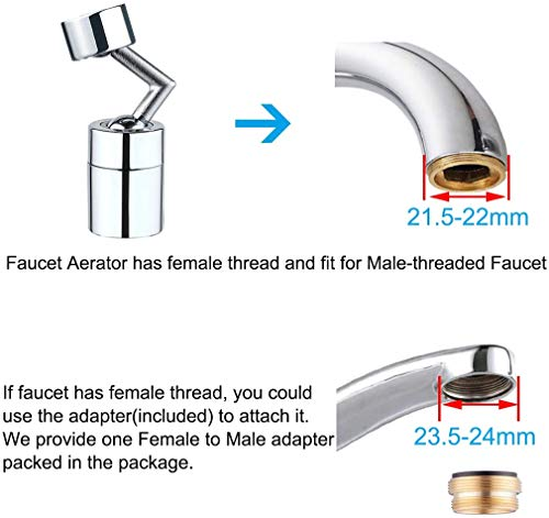 LQWY Faucet Aerator Female Male Universal 720 Degree Sink Swivel Spray Aerator Dual-Modes Aerator Faucet Sink Faucet Sprayer Attachment for Bathroom, Kitchen, Laundry