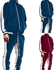 JIOAKFA Men's Sports Suit 2pcs Velour Tracksuit with Zippered Pockets Casual Jacket Trousers Long Sleeve Solid Sportwear