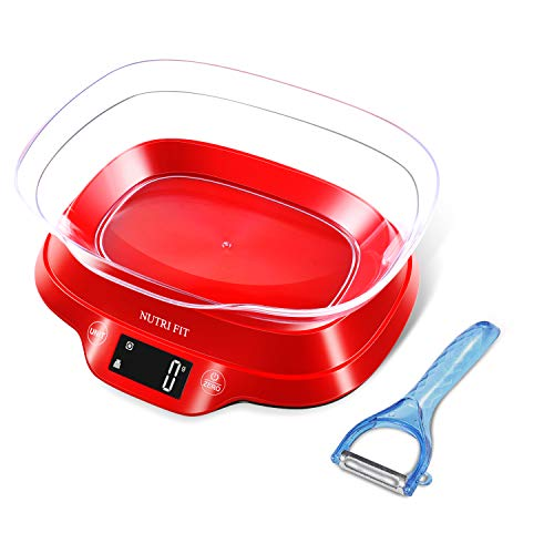 NUTRI FIT Digital Food Scale with Removable Bowl & Vegetable Peeler, 11lb 5kg, Backlight LCD Display (Batteries Included) ()