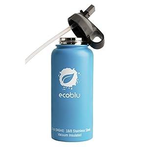 Ecoblu 32 oz Winter Wide Mouth Water Bottle - Ocean Blue - Hydro Insulated Water Bottle