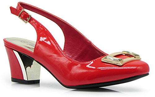 Lime2N Womens Sling Back Heeled Patent Pumps Sandals Red A6uco
