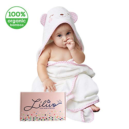 Bamboo Hooded Baby Bath Towel & Wash Mitt Set - Extra Large | Super Soft, Thick, Absorbent Towel for Babies, Toddlers, Infants - Cute Bear Ears Baby Shower Gift for Girls and Boys (Shy Bear)