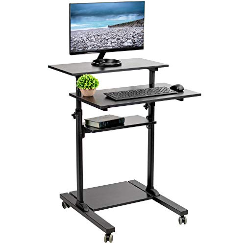 VIVO Black Mobile Height Adjustable Stand Up Desk Table with Storage | Computer Workstation Rolling Presentation Cart (CART-V02DB)