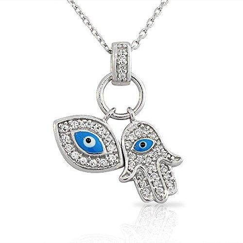 925 Sterling Silver Womens Evil Eye Hamsa Blue White CZ Pendant Necklace