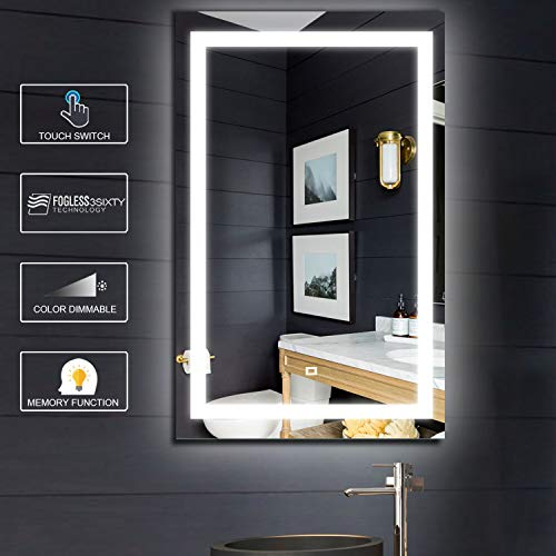Fumango LED Bathroom Vanity Mirror Wall Mounted Makeup Mirror with SmartTouch Switch, -