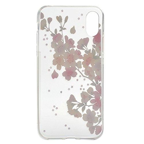 iPhone X Coque , Leiai Mode Fleur De Cerisier Ultra-mince Transparent Clear Silicone Doux TPU Housse Gel Etui Case Cover pour Apple iPhone X