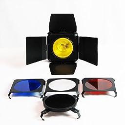 LimoStudio Photography Photo Studio 600 Watt Three Monolight Flash Lighting Light Kit with Carrying Cae - 3 Studio Flash/Strobe, 2 Softboxes, 1 Barndoor, 1 Reflector, 1 Reflective Umbrella_AGG432