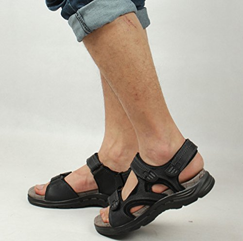 Velcro Strap Leather Men's Black Chickle Sandal TUqw48AW