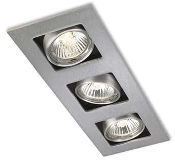 Firstlight 1502BS - Aplique empotrable de techo rectangular con 3 focos (GU10, 240 V, 50 W), color acero mate