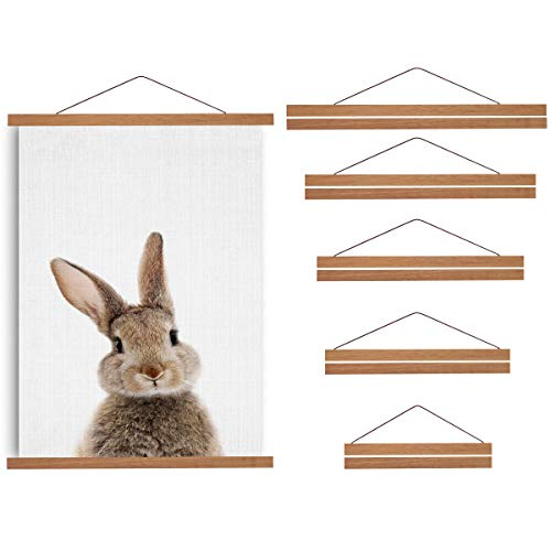 DEESHE Magnetic Poster Hanger Frame, Wooden Holder for Hanging Pictures, Artwork, Drawings, Paintings, Photos, Maps, Wall Art, Portraits, Natural Teak Wood-20inch