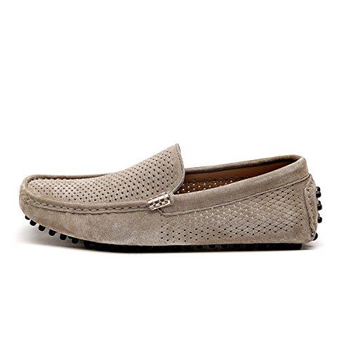 Calzado Casual de Zapatos Zapatos Hombre para Zapatos Mocasines Mocasines de Khiki Cuero de Conducción Mocasines Plano FdpqF8