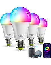 Lâmpada Inteligente kit de 4, 850 lúmens RGB 100-265V Bivolt , Controle por aplicativo e por voz, Compatível com Alexa e Google Assistant, A19 E27 9W