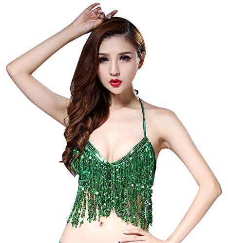 Carnival Padded Bra (Girls Halloween Costume Top Sexy Nightclub Dancing Sequin Padded Bras with Fringe for Belly Dance Green)