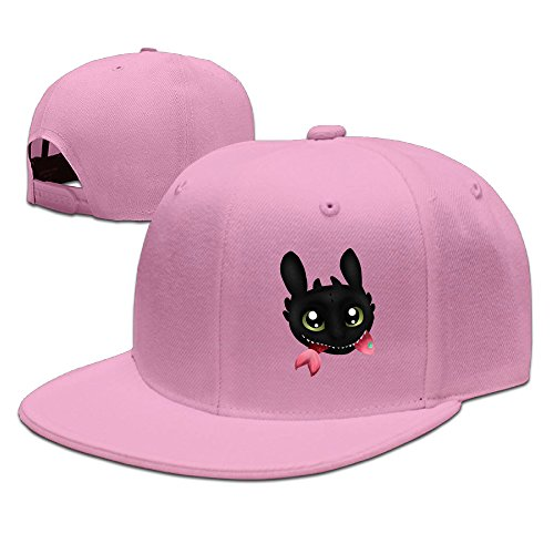 CEDAEI How To Train Your Dragon Flat Bill Snapback Adjustable Golfer Cap Pink (Adidas Striped Skirt)