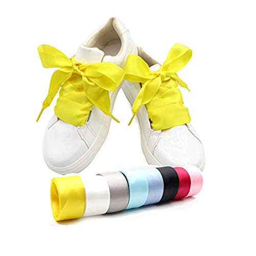 COOL LACE Satin Ribbon Shoelaces Flat Shoe Laces for Sneakers (37.4