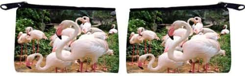 Rikki Knight Flamingos Design Scuba Foam Coin Purse