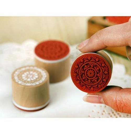 (Fenheus 6pcs Assorted Retro Vintage Floral Pattern Round Wooden Rubber Stamp Scrapbook)