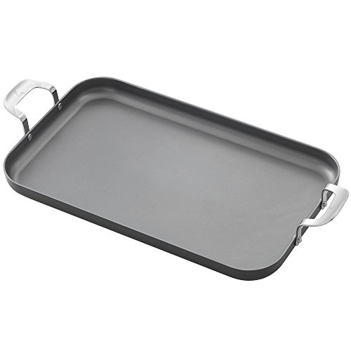 Emeril Lagasse 62929 Dishwasher safe Nonstick Hard Anodized Double Burner Griddle, 11 inchx18 inch ,Gray