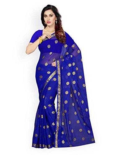 Blue Design Indian Woven Chiffon Saree Handicrfats Poly Ishin Export qnxn7tU