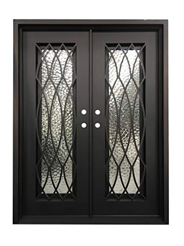 (Burleson Exterior Front Entry Door Wrought Iron with Operable Tempered Cubit Glass 61.5
