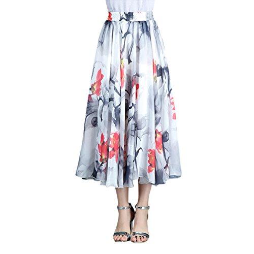 CHENYANG Jupe Longue Femme Bohme Fluide lastique Plisse en imprim Floral t en Boho Dress Casual Plage Style9