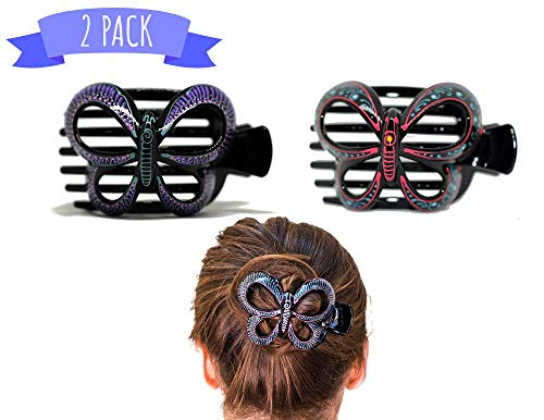Butterfly Barrettes Hand Painted, Bun Cover Clips, 2 Pcs of a Uniquely Hair Bun Holder. for Thick and Thin Hair. this Attractive Hair Accessory can be used as a Bun Maker or a Hair Claw. ()