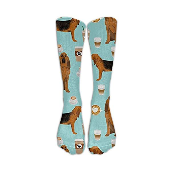 LIUK New Bloodhound Fabric Bloodhound Fabric Dogs and Coffees Design Knee High Graduated Compression Socks for Women and Men - Best Medical, Nursing, Travel & Flight Socks - Running & Fitness 1