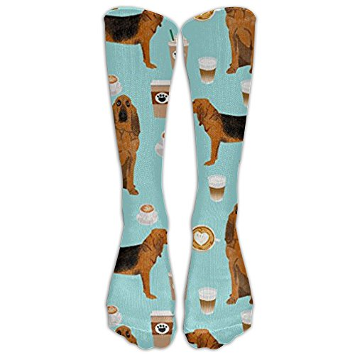 Bloodhound Fabric Bloodhound Fabric Dogs And Coffees Design Knee High Graduated Compression Socks For Women And Men - Best Medical, Nursing, Travel & Flight Socks - Running & Fitness