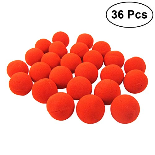 STOBOK 36pcs Funny Sponge Clown Noses Dress-up Props Stage Props for Christmas Halloween Party Costume Balls (Red)