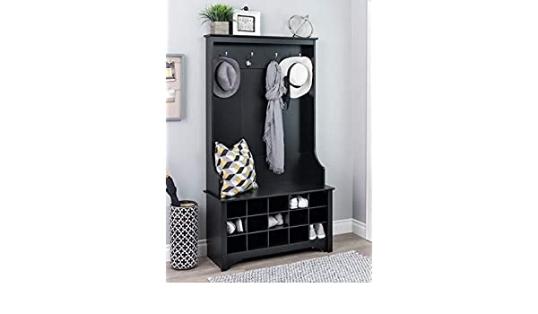 Amazon.com: Hall Trees with Bench and Coat Racks - Black Wood with Four Hooks and Fifteen Shoe Cubbies - Organizing Your Space with Sophistication: Home & ...