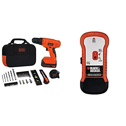 BLACK+DECKER 20V MAX Drill & Home Tool Kit, 34 Piece (BDCD120VA) with BLACK+DECKER SF100 Wood Stud Finder