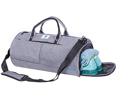 NORDSHIELD Gym Duffle Bag Travel Weekender Carry On Luggage with Shoe Compartment (Gray) For Sale