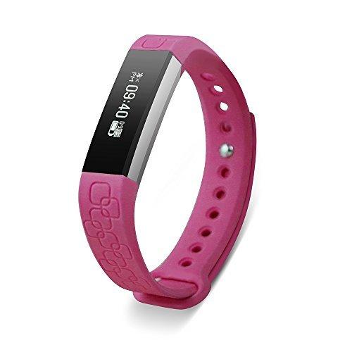 Keoker Micro-K Smart Wristband Fitness Tracker Bluetooth Heart Rate & Sleep Monitor Smart Bracelet Pedometer Sport Smartband for IOS Android (Pink)
