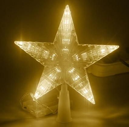gbb 7 flash light led decoration lamp pentagram star christmas tree topper aa battery - Outdoor Christmas Tree Topper