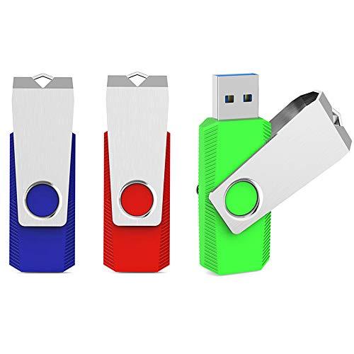 64GB Flash Drive, Aiibe 3 Pack USB Flash Drive 64 GB Thumb Drive Colorful Jump Drives Memory Stick Zip Drive USB Drive USB 2.0 (64G, 3 Pack, Red/Blue/Green)